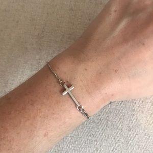 Alex and Ani Station Chain Silver Cross Bracelet